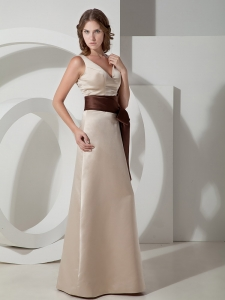 V-neck A-line Floor-length Taffeta Sash Bridesmaid Dress