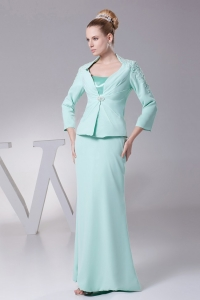 Mother Of The Bride Dress Apple Green Chiffon Long Sleeves Jacket