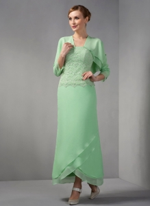 Strapless Apple Green Mother Of The Bride Dress Ankle-length Appliques