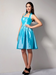 Aqua Blue Halter Top Knee-length Taffeta Bridesmaid Dress