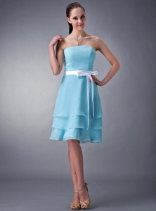 Aqua Strapless Knee-length Chiffon Sash Bridesmaid dresses