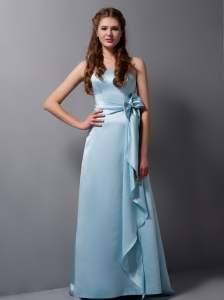 Strapless Baby Blue Bridesmaid dresses with Bow