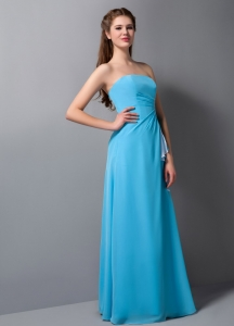 Baby Blue Column Strapless Floor-length Chiffon Bridesmaid dresses