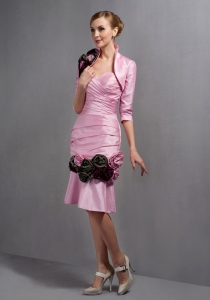 Column Baby Pink Mother Of The Bride Dress with Black Flowers