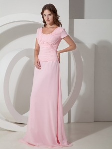 Baby Pink Scoop Neck Chiffon Beading Mother of the Bride Dress
