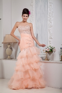 Mermaid Sweetheart Peach Prom Pageant Dress Ruffled Beading