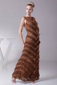 Bateau Designer Mother of The Bride Dress Chocolate Brown Layers