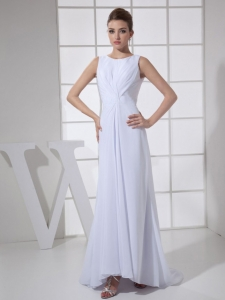 Bateau White For Chiffon Wedding Dress With Brush Train