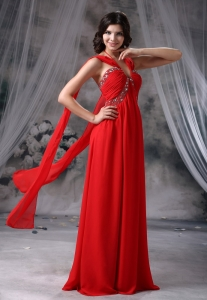 2013 Beaded Decorate Bust Ruch Red Pageant Celebrity Dress