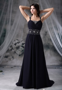 Navy Blue Straps Beaded Decorate Wasit Pageant Evening Dress