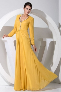Gold Chiffon Beading Decorate Bodice Long Sleeves Prom Dress