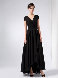 Black V-neck Ankle-length Chiffon Sequins Moms dress