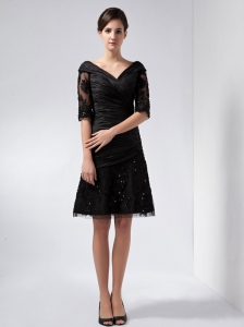 V-neck Taffeta and Tulle Beading and Lace Mother in Law Dress
