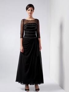 Scoop Knee-length Chiffon Beading Mother Of The Bride Dress