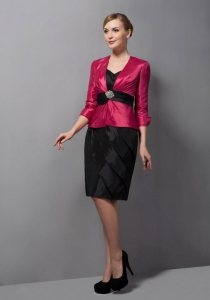 Sweetheart Mini-length Taffeta Belt Mothers Dress with Jacket