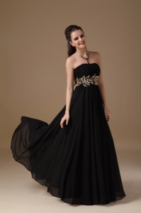 Beading Strapless Floor-length Chiffon Pageant Evening Dress