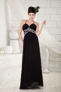 Black Empire Pageant Evening Dress with Straps and Beading
