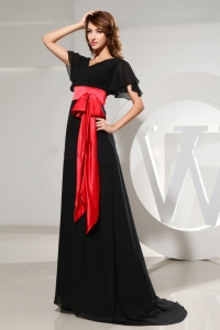 Black Dress for Prom With Red Sash Short Sleeves and Brush Train