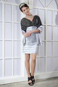 Black and Silver V-neck Taffeta and Sequin Nightclub/Graduation Dress