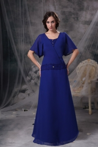 A-line Chiffon Mother Of The Bride Dress Royal Blue with Sleeves