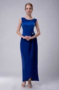 Blue Bateau Hand Made Flower Ankle-length Wedding Guest Dress
