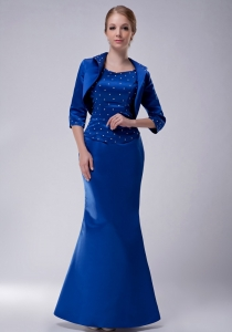 Blue Scoop Floor-length Taffeta Beading Mother Of The Bride Dress