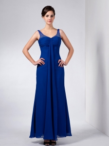 Blue Spaghetti Straps Ankle-length Beading Mother in Law Dress
