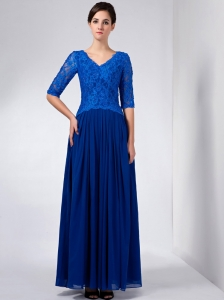 Blue Chiffon and Lace Mother Of The Bride Dress V-neck Beading