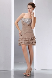 A-line Light Brown Nightclub/Homecoming Dress Beading and Sequins