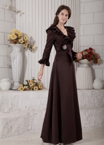V-neck Brown A-line Beading Mother of the Bride Dress