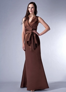 V-neck Floor-length Satin Ruch Brown Cloumn Bridesmaid Dress