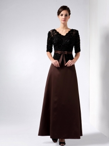 V-neck Lace and Satin Beading Mother Of The Bride Dress