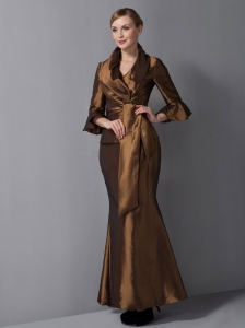 V-neck Brown Ankle-length Taffeta Mother Of The Bride Dress
