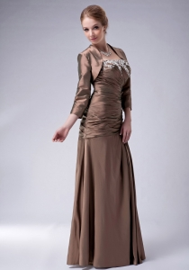 Brown ruched Taffeta Appliques Mother Bride Dress with Jacket