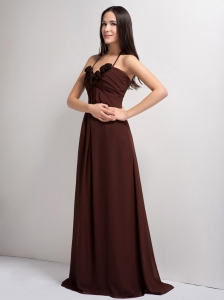 Brown Bridesmaid dresses with Hand Made Flowers