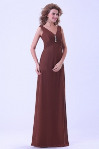 Brown V-neck Mother Of The Bride Dress Floor-length Empire