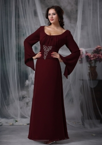 Burgundy Scoop Floor-length Chiffon Beading Mother Dress