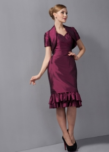 Burgundy Taffeta Ruched layers Mother Of The Bride Dress