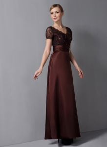Burgundy V-neck Ankle-length Satin Beading Mom Dress