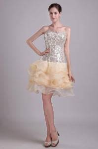 Lovely Champagne Organza and Sequins Nightclub/Cocktail Dress