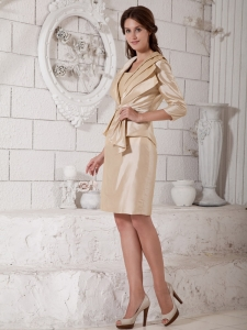 Strapless Knee-length Taffeta Champagne Mother Dress