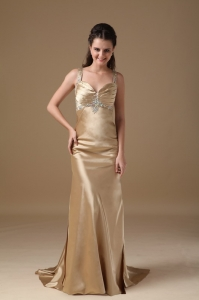 Beading Pageant Evening Dress with Straps and Brush Train