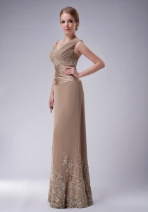 Champagne V-neck Floor-length Chiffon Appliques Mother Of The Bride Dress