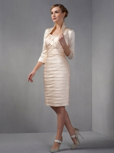 Scoop Chanpagne Knee-length Beading Ruch Mother in Law Dress