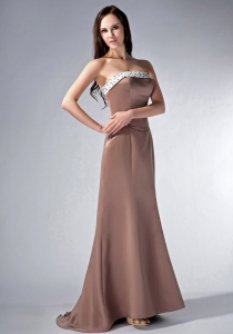 Chocolate Strapless Brush Train Satin Beading Maid of Honor Dress