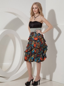 Printed Colorful Knee-length Beading Nightclub/Cocktail Dress