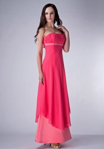 Coral Red and Watermenlon Ankle-length Ruched Bridesmaid dresses