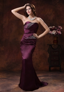 Dark Purple Mermaid Beaded Decorate Pageant Evening Dress