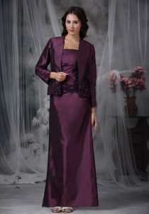 Dark Purple Mother Of The Bride Dress with Taffeta Appliques