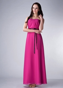 Strapless Ankle-length Chiffon Sash Fushsia Bridesmaid dresses